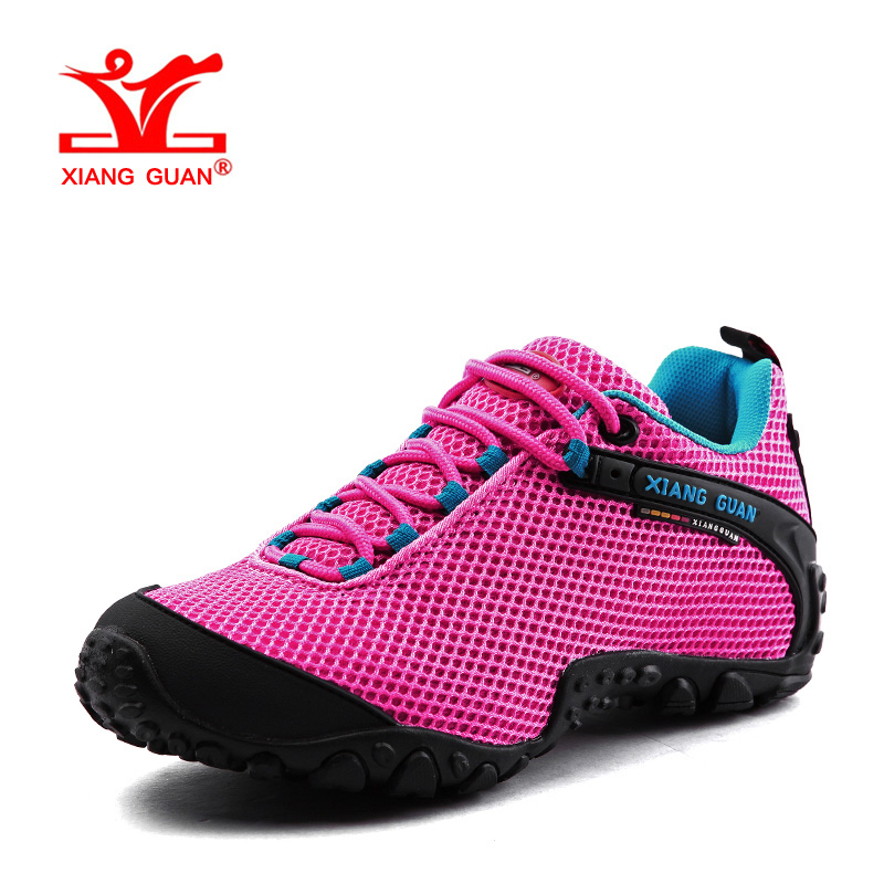 XIANGGUAN Woman Hiking Shoes Women Mesh Breathable Trekking Boots Pink Zapatillas Sports Climbing Shoe Outdoor Walking Sneakers hot new 2016 fashion high heeled women casual shoes breathable air mesh outdoor walking sport woman shoes zapatillas mujer 35 40