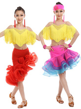 Child Latin Dance Tango Dress Rose Red/red  for Girls Kids Ballroom Salsa/Ramba Costome