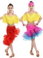 Trẻ em Khiêu Vũ Latin Tango Ăn Mặc Rose Red/Khiêu Vũ Latin đỏ Váy cho Cô Gái Trẻ Ballroom Dress/Salsa/Ramba Costome
