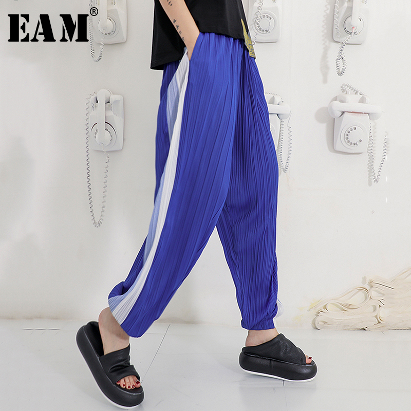 [EAM] 2019 Autumn Winter New Fashion Black Solid Pockets Elastic Waist Casual Loose Big Size Women Long Cross Pants RA231