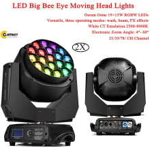 2Pcs/Lot 19X15W Big Bee Eye Moving Head Stage Lights LED Beam Wash RGBW 4IN1 Disco Light For Dj Party Flash Lighting