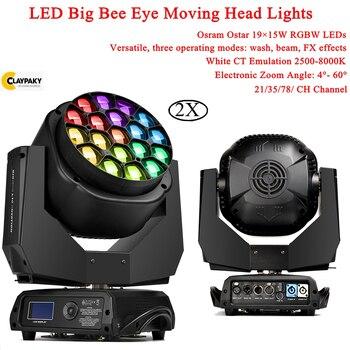 цена 2Pcs/Lot 19X15W Big Bee Eye Moving Head Stage Lights LED Beam Wash RGBW 4IN1 Disco Light For Stage Dj Disco Party Flash Lighting онлайн в 2017 году