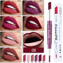 6 color double head makeup lipstick lip liner waterproof durable matte light red gift