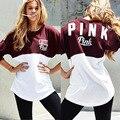 Розовый футболка женская одежда 2016 осень лоскутное женщин тонкий свободные толстовки пуловеры Сексуальная девушка розовый с длинным рукавом Повседневная Толстовка