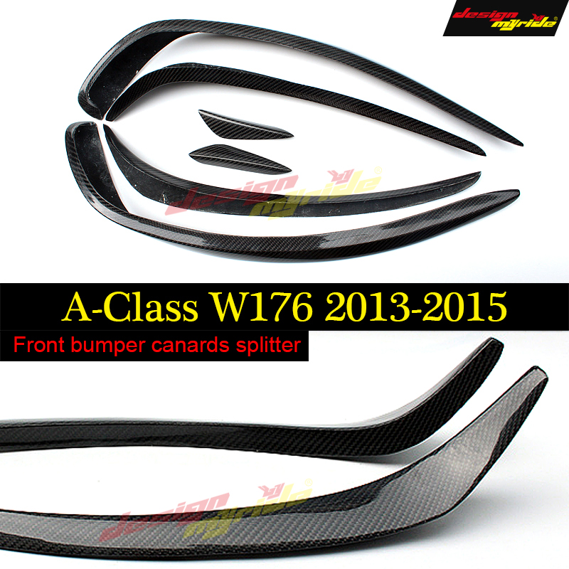 W176 Front Bumper Splitter Lip Carbon Fiber Canards Spoiler For Mercedes Benz A180 A200 A250 A45