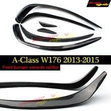 W176 Front Bumper Splitter Lip Carbon Fiber Canards Spoiler For Mercedes Benz A180 A200 A250 A45 Look Anterior lip 2013-15 цена 2017