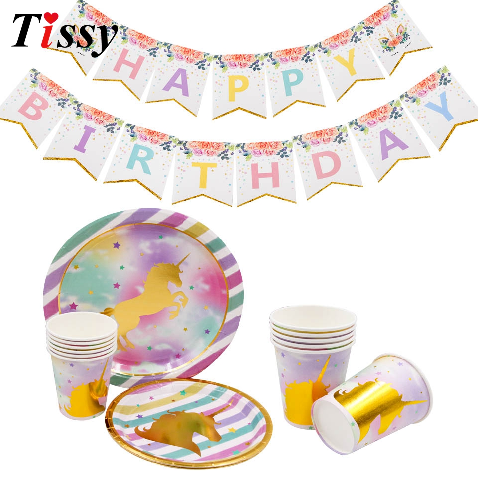 Unicorn Theme Disposable Tableware Sets Paper Plates Cups Party Supplies Party Banner Wedding/Kid Birthday/Pool Party Decoration