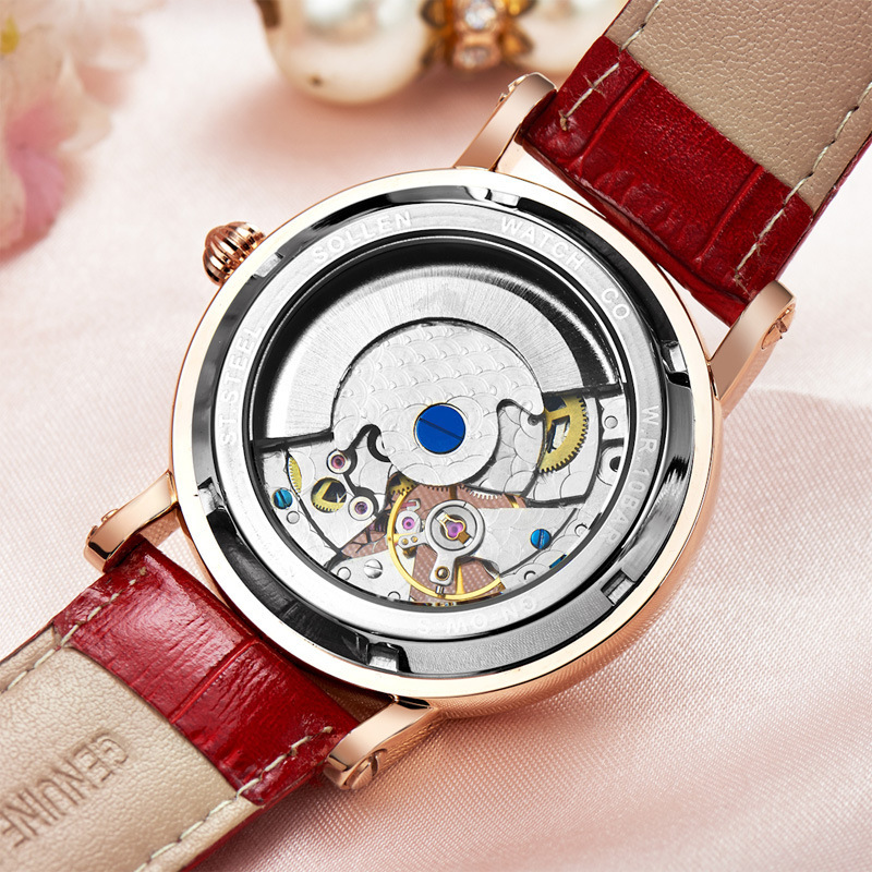 8effae4304858 kobiet zegarka luxury women Watch automatic mechanical high end Leather  watches female fashion hollow waterproof Dress clock -in Women s Watches  from ...