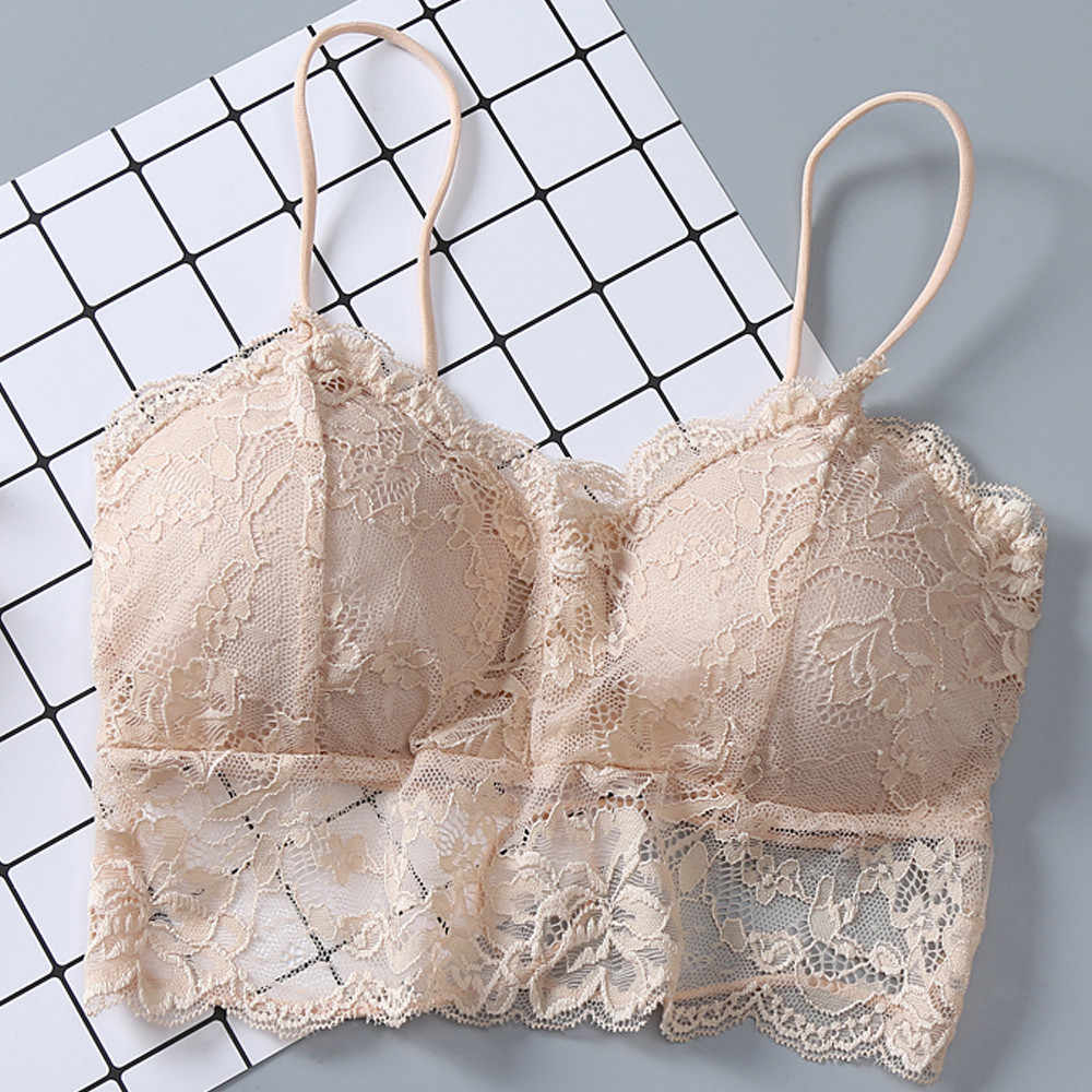 Brassiere pad with lace cross ribbon wrapped in chest and no steel ring vest Bra Bustier Sheer Top Seamless Bralette #YL1
