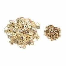 100 шт./лот золотые вешалки для картин, латунные треугольные фоторамки, настенные вешалки, крючок, кольцо, железо, опт