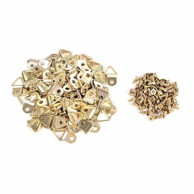100 unids/lote oro Colgadores de cuadros latón triángulo foto Marcos ...