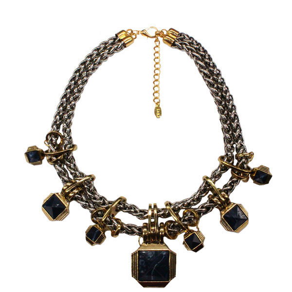 Ufashional Collar Maxi Marca de Moda del Verano del Estilo Punky Gótico Negro Geométrica Gargantillas Collar para las mujeres de Acrílico de Doble Capa