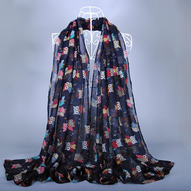 Prix usine printe hibou oiseaux viscose coton pashmina Accessoires châles  mignon hijab écharpe longue musulman foulards écharpe 10 pcs lot 8fb5930c988