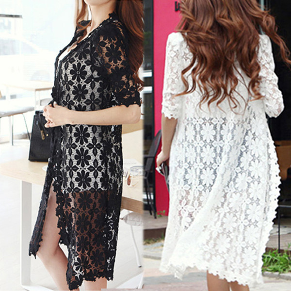 New 2018 Fashion Long Cape Hollow Out Womens Half Sleeve Summer Autumn Lace Cardigan Sweater 2 Color