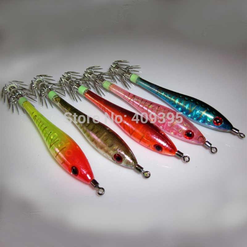 Upperowens 10pcs 11cm Squid Jigs Fishing Squid Lures Hard Fishing Lure Mixed 5 Colors Strong Fishing Hook Free Shipping jsm 10pcs plastic hard squid jig lures sea fishing artificial squid jigs bait wood shrimp squid jigging lures fishing hook