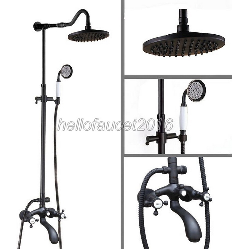 Bathroom Rain Shower Faucet Set Oil Rubbed Bronze Finish with Ceramic Handheld Shower Spray + Bath Tub Shower Mixer Taps lhg616