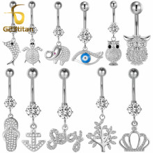 G23titan Silver Belly Piercing Rings 16G Titanium Bars Crystal Animal Pendant Dangle Ring Navel Jewelry