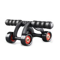 Anti slip 4 Wheels Power Wheel Triple AB Roller Abdominal Abs Workout Fitness Machine Durable Gym Knee Pad