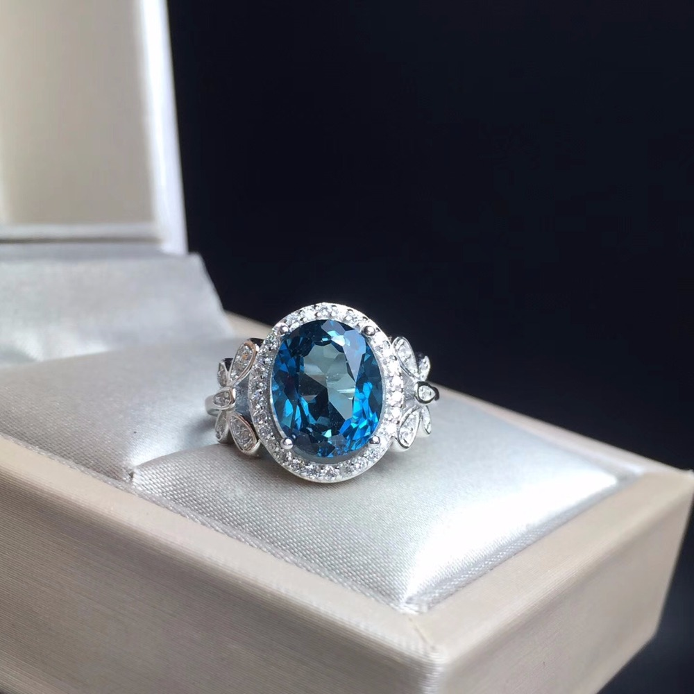 Uloveido 3 Carat Natural Blue Topaz Ring, Bow Style,925 ...