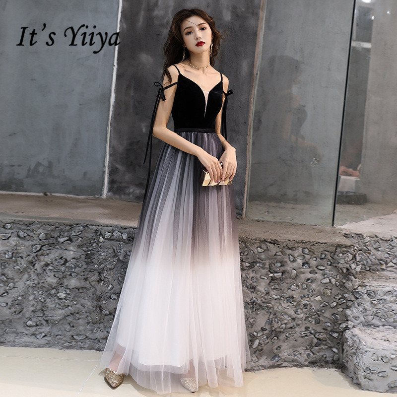 It's YiiYa Long   Evening     Dress   Black Gradient Color Sexy Spaghetti Strap Formal Gown Lace Up Velour Patchwork Party   Dresses   E030