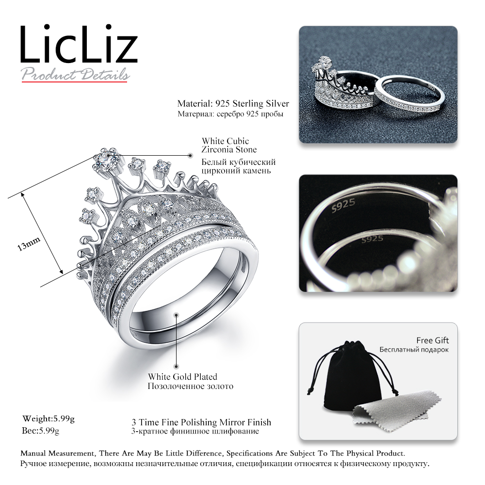 LicLiz Bridal Ring Set Women Cubic Zircon Wedding Rings Sterling Silver Crown Ring Finger Engagement Band 925 Anel Femme LR0336 in Rings from Jewelry Accessories