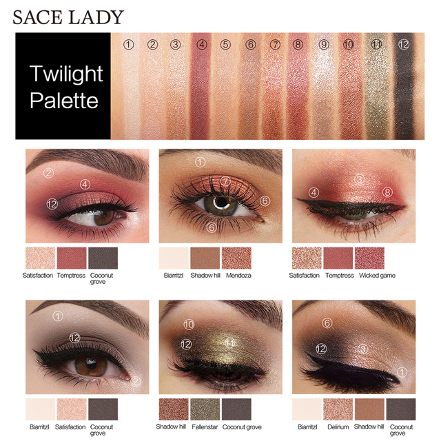 SACE LADY Eyeshadow Palette Makeup Glitter Eye Shadow Pallete Professional Matte Shadow Make Up High Pigment Nude Cosmetic 4