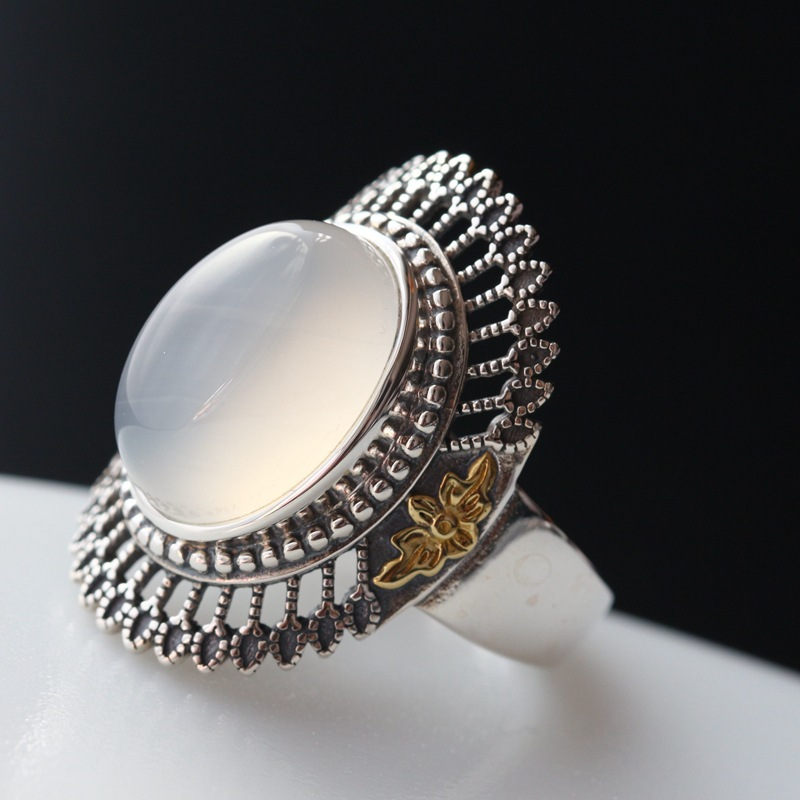 925 sterling silver women to quit Wide Thai silver restoring ancient ways ring surface openings
