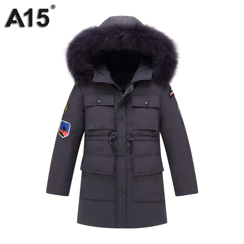 A15 Duck Down Coat Kid Winter Jacket Boys 2017 Warm Hooded Jacket for Boys European Children's Outerwear Clothes Big Teens 10 12 children duck down jacket coat with imitation fur boy girl removable hooded overcoat winter warm thick outerwear kid clothes