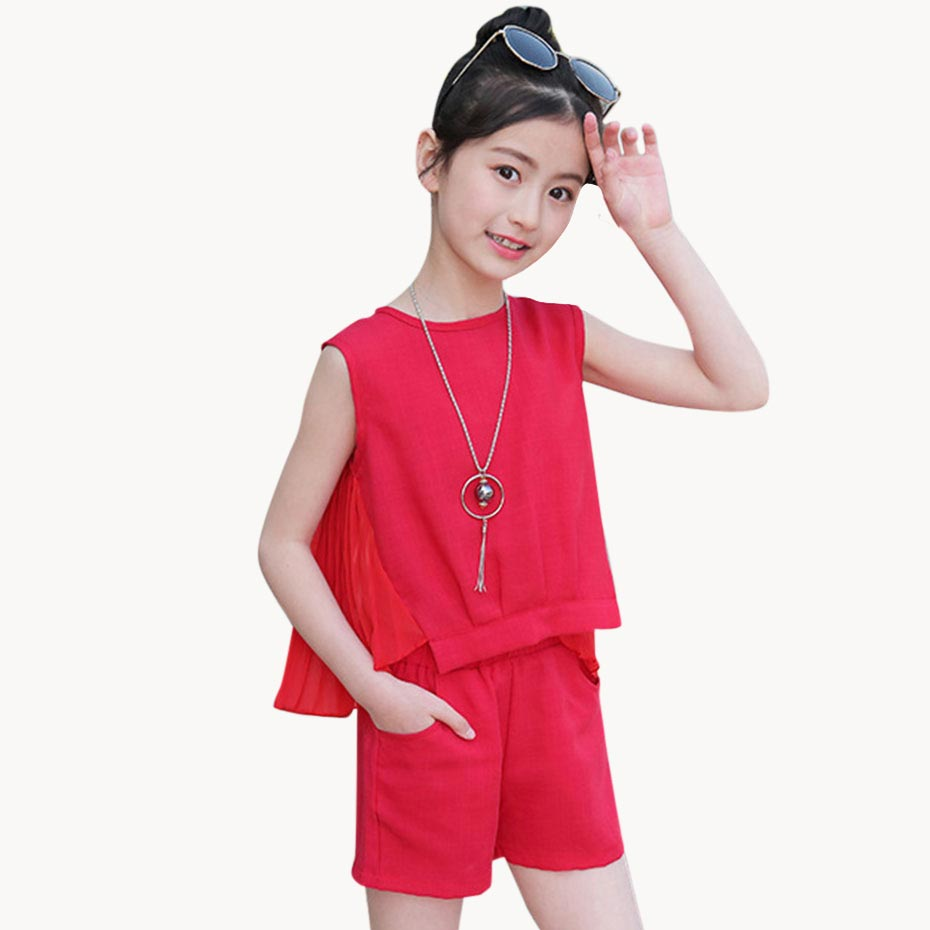Summer Clothes For Girls Solid Vest + Short 2PCS Costumes For Girls Teenage Kids Clothing For Girls 6 8 10 12 13 14 Year(China)