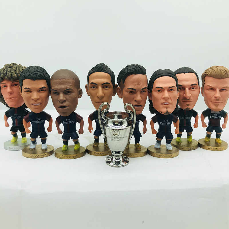Soccerwe Mbappe Neymar Cavani Ibrahimovic Silva Doll PSG# Football Team 2019 Blue Kit Figurine 2.6 Inches Height Resin