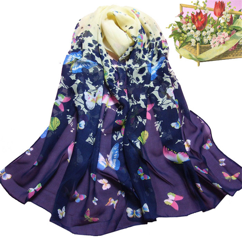 Women Scarves Female New Fashion Butterfly Printed Flower Soft Muffler Chiffon Scarf Wrap Shawl in Navy Colour crinkle hijab