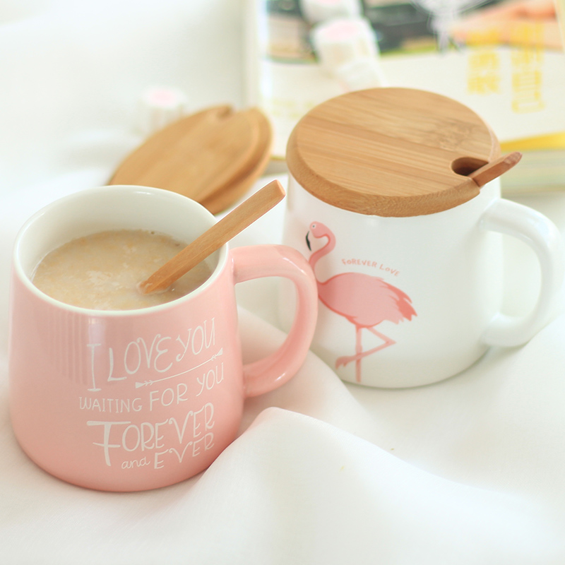 350ml Cute Pink Flamingo Ceramic Coffee Mug with Lid and Spoon Coffee Milk Tea Water Cups Creative Gifts ...