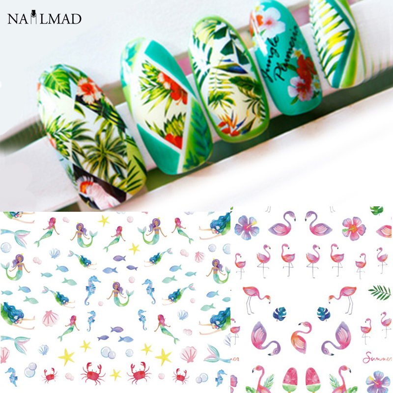 12Sheets Mermaid Ocean Starfish Nail Water Decals Gradient Tropical Flamingo Stickers Fruit Watermeleon Nail Art Transfer Decals