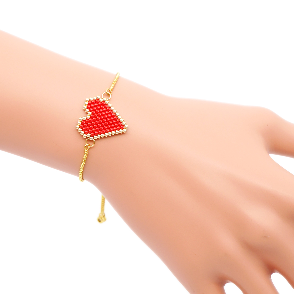 Go2boho MIYUKI Bracelet For Women Red Heart Shape Bracelets Jewelry Handmade Insta Fashion Gift Stainless Stee Gold Chain 2019 in Charm Bracelets from Jewelry Accessories