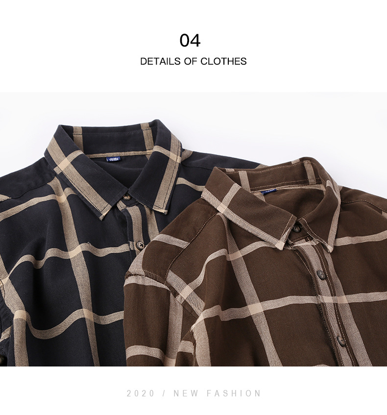 Spring Wholesale Casual Flannel Shirts Single Breasted long sleeve Full thick shirts Men's plaid high quality size M-2XL3XL 12