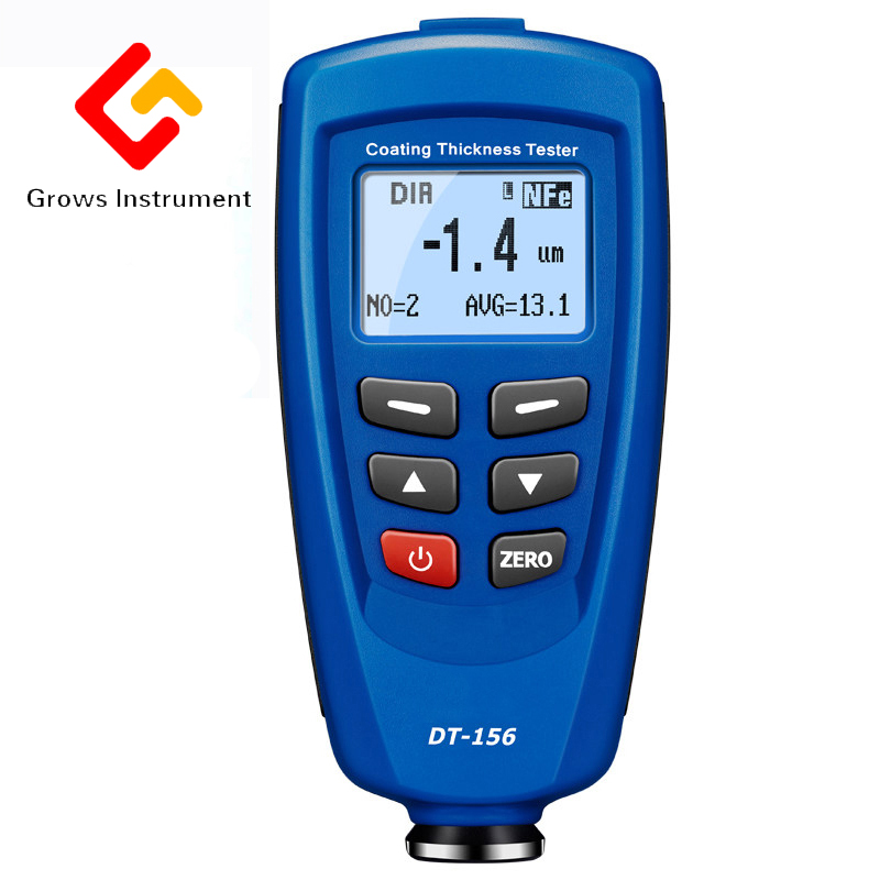 Digital DT-156 Paint Coating Thickness Gauge Meter Tester 0~1250um with Built-in Auto F & NF Probe + USB Cable + CD software gm200 coating thickness gauge standard model with built in probe for ferrous metal substrates yellow