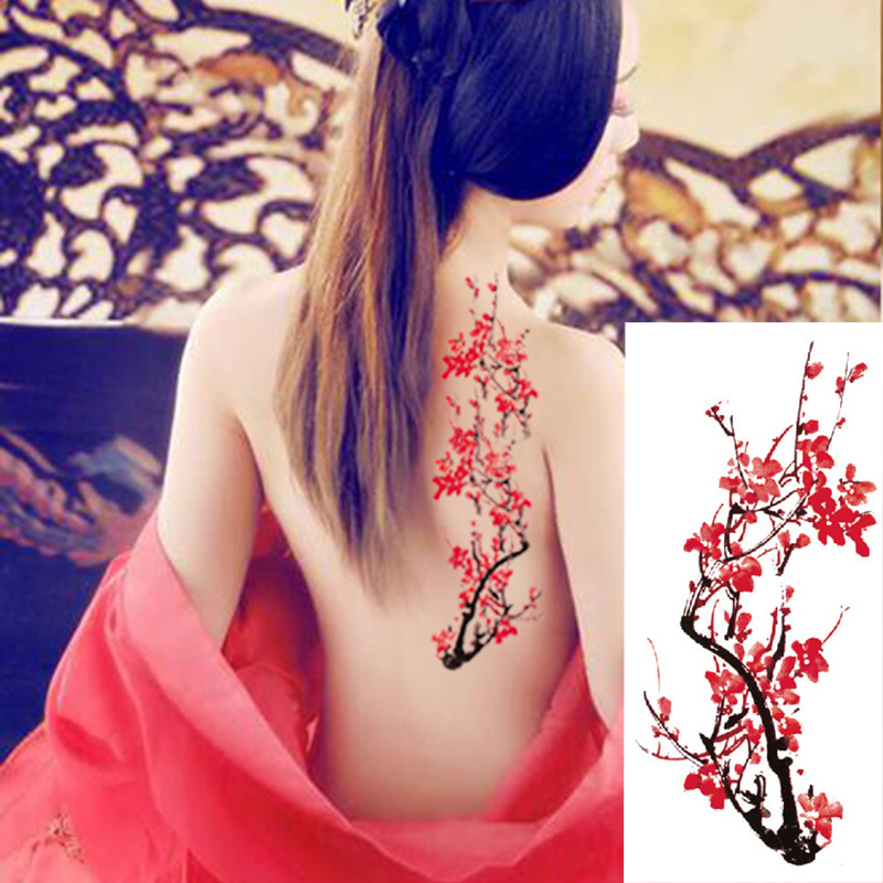 1piece Body Art  Flash Henna Tattoo Fake Temporary Tattoos Stickers Rose Peony Flowers Arm Shoulder Tattoo Waterproof Women