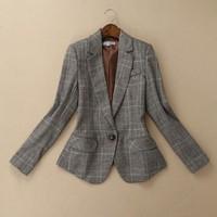Blaser 2015 New Fashion Autumn Winter Women Plaid Wool Leather Patchwork One Button Slim Blazers Coat