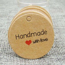 1.18inch 100pcs kraft print paper hand made tag with love for DIY Gift box tag candy cupcake handmade favors name brand tag