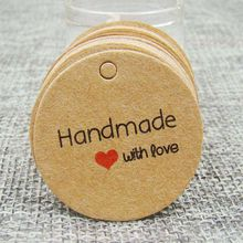 1.18inch 100pcs kraft print paper hand made tag with love for DIY Gift box tag candy cupcake handmade favors name brand tag(China)