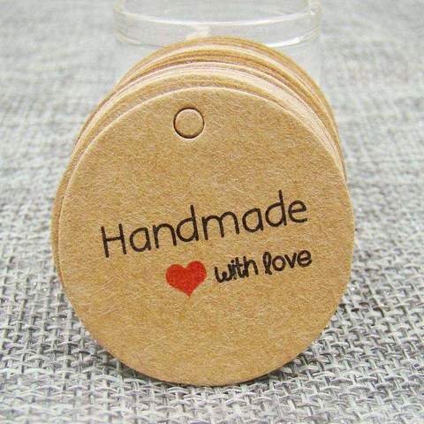 1.18inch 100pcs kraft print paper hand made tag with love for DIY Gift box tag candy cupcake handmade favors name brand tag Pakistan