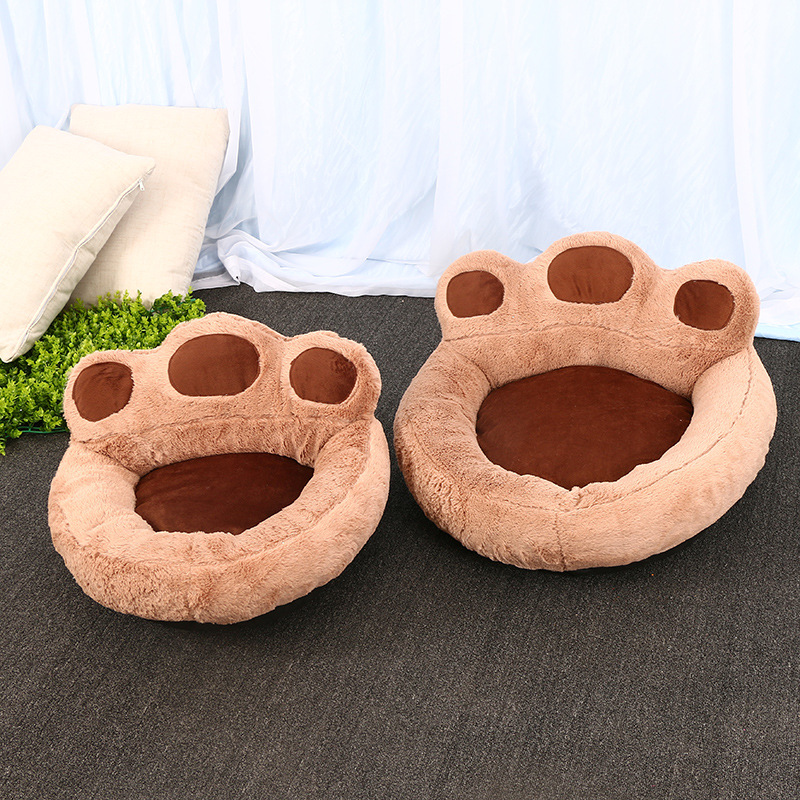 cute polar bear paw pet nest warm teddy kennel ultra plush backrest type dog bed removable - Dog Beds For Large Dogs