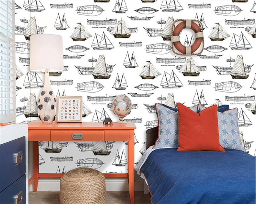Beibehang Simple Mediterranean style children nonwovens environmental wallpaper boy girl bedroom room sailboat 3d wallpaper roll beibehang nonwovens healthy fashion