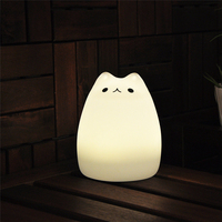 Rechargeable Cute Silicone Cat LED Night Light Creative USB Recharge Lamp 7 Color Changing Bouncy Design