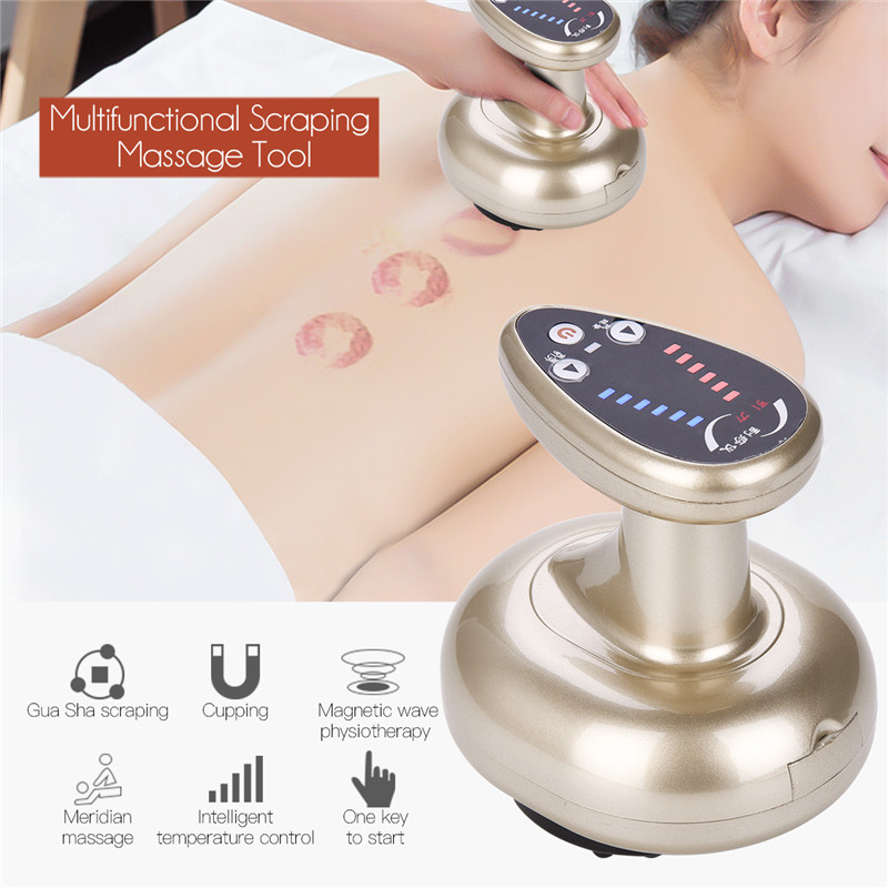 Guasha Suction Scraping Massager Magnetic Wave Physiotherapy Cupping Stimulate Acupoints Detoxification Multi Massage Device P53