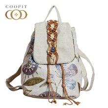 Coofit старинные женский рюкзак ретро цветы холст рюкзак Национальный бисера ткань женские Bagpack школьный для девочек-подростков