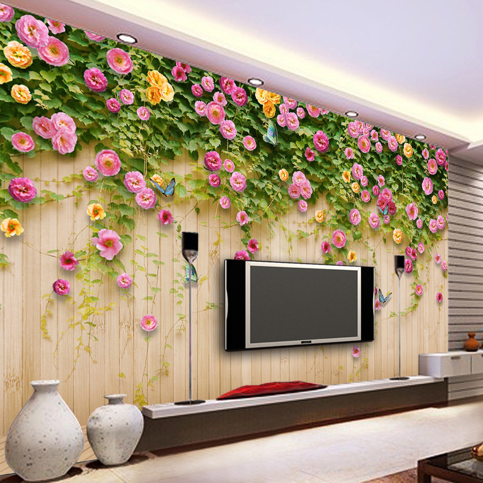 buy custom mural wallpaper green vine butterfly rose flower wood board backdrop. Black Bedroom Furniture Sets. Home Design Ideas