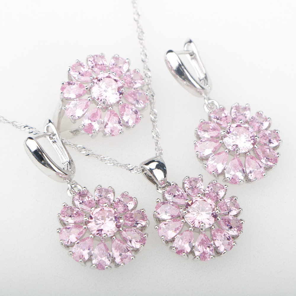 Pink CZ Silver 925 Jewelry Sets Decorations For Women Earrings Rings Necklaces & pendants Bridal Sets of Jewelery Free Gift Box