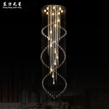 crystal chandelier spiral LED lamp staircase light long spiral minimalist  round hanging lighting for villa living room