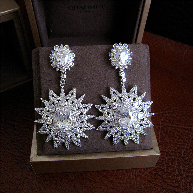 Fashion AAA cubic zirconia fancy design fully jewelled oval stone drop earrings ,gorgeous womens accessaries,E6554